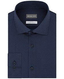 Michael Kors Men's Slim-Fit Airsoft Non-Iron Performance Stretch Moisture-Wicking Blue Double Dash-Print Dress Shirt