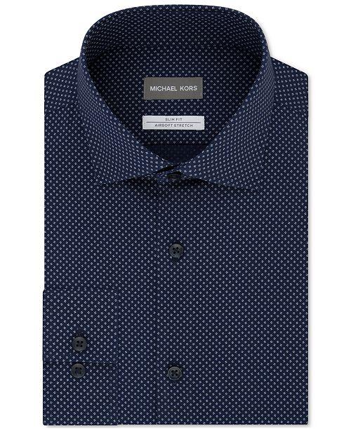 pretty nice popular brand free shipping Men's Slim-Fit Airsoft Non-Iron Performance Stretch Moisture-Wicking Blue  Double Dash-Print Dress Shirt