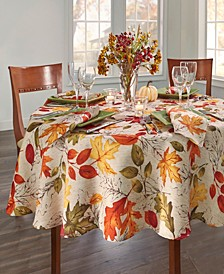 "Autumn Leaves Fall Printed Tablecloth, 70"" Round"