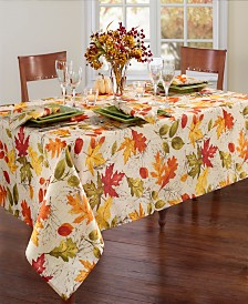 "Elrene Autumn Leaves Fall Printed Tablecloth, 60"" x 84"" Oblong"