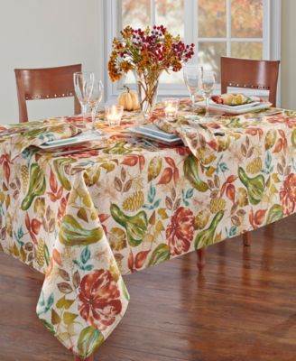 """Gourd Gathering Fall Printed Tablecloth, 60"""" x 84"""" Oblong"""