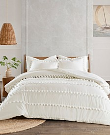 Leona Full/Queen 3-Pc. Pom Pom Cotton Comforter Set