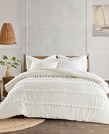 Madison Park Leona 3-Pc. Pom Pom Cotton Comforter Set