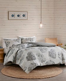 Madison Park Amoria 3-Pc. Printed Seersucker Palm Duvet Cover Sets