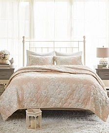 Gloria King/California King 3-Pc. Cotton Printed Reversible Quilted Coverlet Set