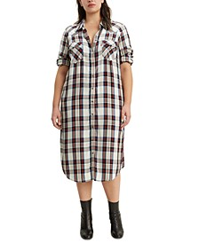 Trendy Plus Size  Fiora Plaid Western Shirtdress