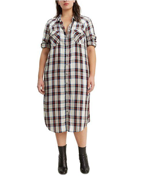 Trendy Plus Size Fiora Plaid Western Shirtdress
