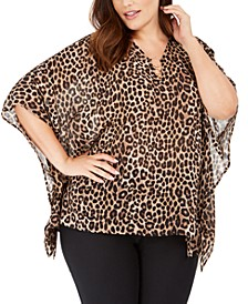 Plus Size Leopard-Print Flutter-Sleeve Top