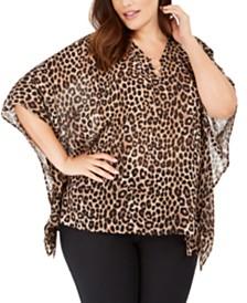 Michael Michael Kors Plus Size Leopard-Print Flutter-Sleeve Top