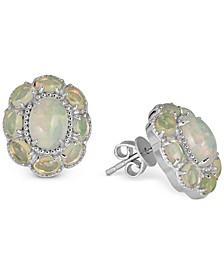 Opal Floral Stud Earrings (4 ct. t.w.) in Sterling Silver