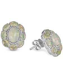 Opal Floral Stud Earrings (4 ct. t.w.) in Sterling Silver