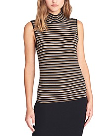 Essential Striped Sleeveless Mock-Neck Top