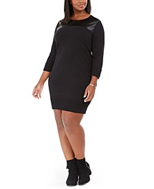 Plus Size Faux-Leather-Trim Sweater Dress