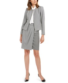 Calvin Klein Zip Jacket, Tie-Neck Blouse, & Mixed-Media Skirt