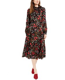 Calvin Klein Belted Floral Tie-Neck Dress