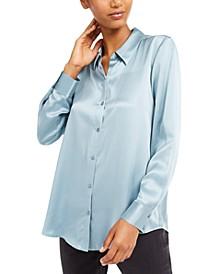 Silk Button-Down Shirt, Regular & Petite Sizes