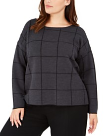 Eileen Fisher Plus Size Boat-Neck Grid Top