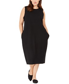 Eileen Fisher Plus Size Pocketed Midi Dress