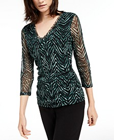INC Petite Double Layer V-Neck Top, Created For Macy's