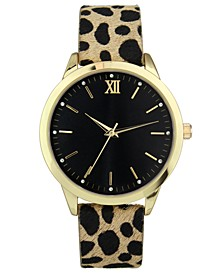 INC Women's Leopard-Print Faux Leather Strap Watch 39mm, Created for Macy's