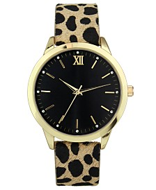 I.N.C. Women's Leopard-Print Faux Leather Strap Watch 39mm, Created for Macy's