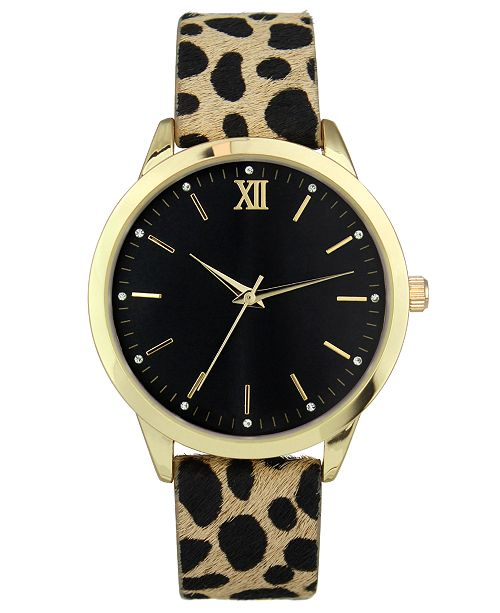INC International Concepts INC Women's Leopard-Print Faux Leather Strap Watch 39mm, Created for Macy's