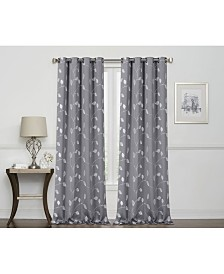 Regal Home Birch Embroidered Leaf Blackout Grommet Curtain
