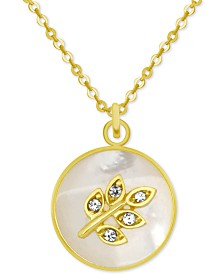 """PIXIE POSEY Gold-Tone Crystal Leaf Mother-of-Pearl 18"""" Pendant Necklace"""
