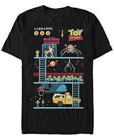 Disney Pixar Men's Toy Story 8-Bit Video Game Scene Short Sleeve T-Shirt