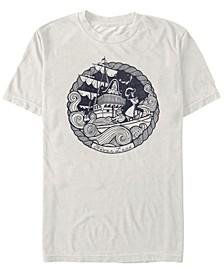 Disney Men's Peter Pan Captain Hook Ship Stamp Short Sleeve T-Shirt