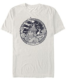 Disney Men's Peter Pan Captain Hook Ship Stamp Short Sleeve T-Shirt