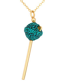 SIS by Simone I Smith 18k Gold over Sterling Silver Necklace, Green Crystal Mini Lollipop Pendant