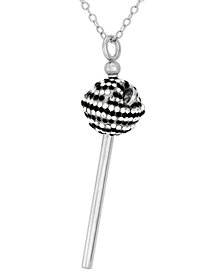 Simone I. Smith Platinum Over Sterling Silver Necklace, Black and White Crystal Mini Lollipop Pendant