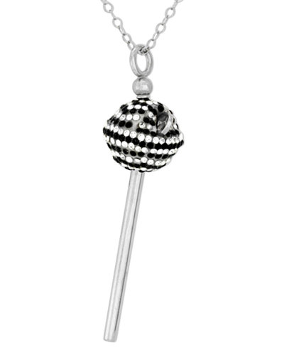SIS by Simone I Smith Platinum Over Sterling Silver Necklace, Black and White Crystal Mini Lollipop Pendant