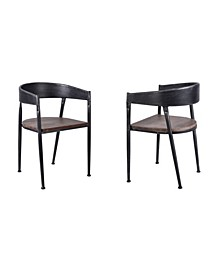 Steve Industrial Metal Dining Chair in Brushed with Rustic Pine Wood Seat - Set of 2