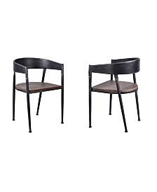 Today's Mentality Steve Industrial Metal Dining Chair in Brushed with Rustic Pine Wood Seat - Set of 2