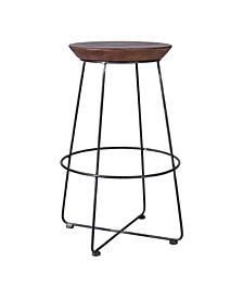 Leandra Industrial Backless Metal Barstool in Brushed with Rustic Wood Seat