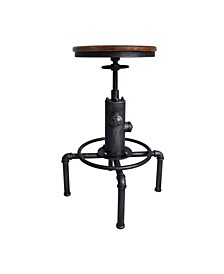 Tampa Industrial Backless Adjustable Barstool in Brushed and Rustic Ash Wood Seat