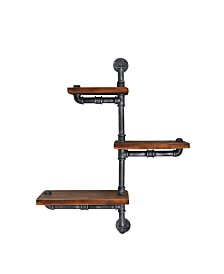 Today's Mentality Vienna Industrial Floating Brushed Pipe Wall Shelf with Walnut Wood