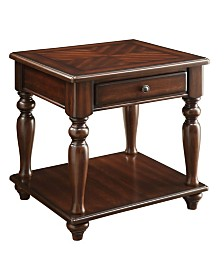 Benzara Wooden End Table with 1 Drawer and 1 Bottom Shelf