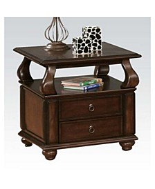 Wooden End Table with Drawers and Open Shelf