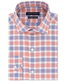 Tommy Hilfiger Men's Classic/Regular Fit Non-Iron THFlex Supima® Performance Stretch Check Dress Shirt