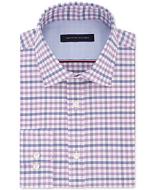 Tommy Hilfiger Men's Fitted Performance Stretch Flex Collar Check Dress Shirt, Created for Macy's