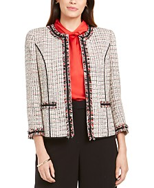 Anne Klein Tweed Fringe-Trim Jacket