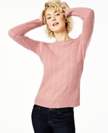 Charter Club Cable-Knit Cashmere Sweater, Created for Macy's