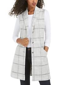 Maison Jules Juniors' Textured Plaid Vest, Created for Macy's