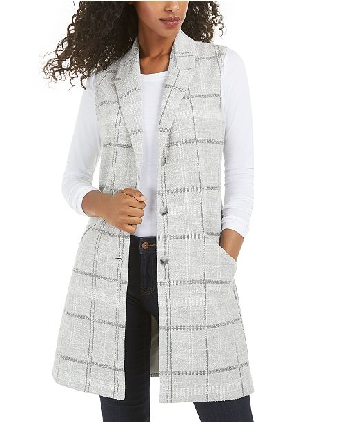 Maison Jules Textured Plaid Vest, Created for Macy's