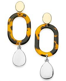 Two-Tone Tortoise-Look Oval Link Linear Drop Earrings, Created For Macy's