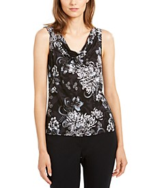Sleeveless Floral Draped Top