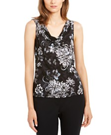 Nine West Sleeveless Printed Draped Top